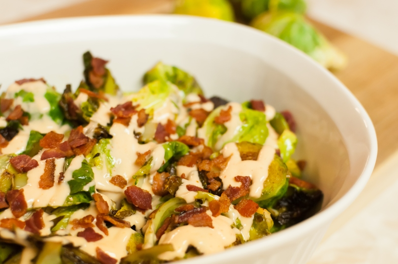Fried Brussel Sprouts with Honey Sriracha Crema and Bacon ...